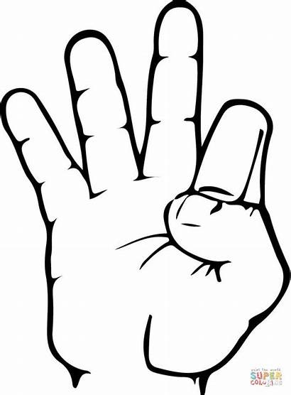 Asl Number Coloring Pages Printable Numbers Sign
