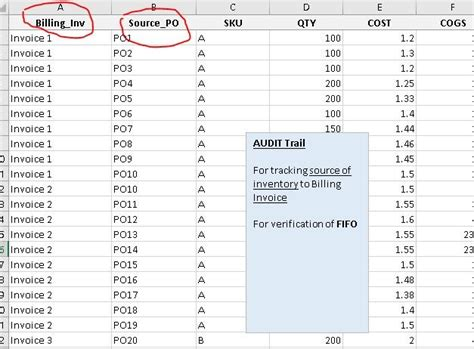 fifo excel template automate flow  inventory  cost