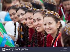 Girls in traditional the national dress of Turkmenistan