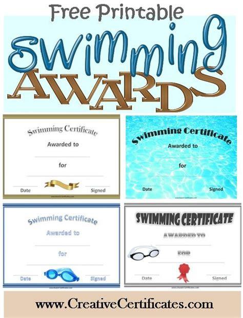 printable swimming certificates  awards swim