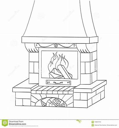 Fireplace Coloring Brick Vector Works Tree Heats