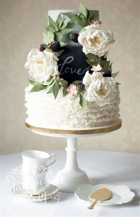 Unique Three Tier Rustic Wedding Cake White Wedding