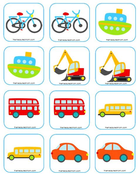 Free Matching Memory Game For Kids Transportation!  The Measured Mom