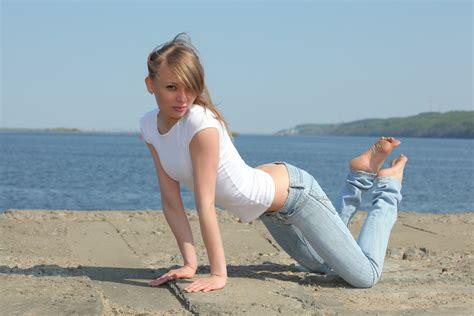 Women Outdoors, Model, Blonde, Sea, Bay, Sand