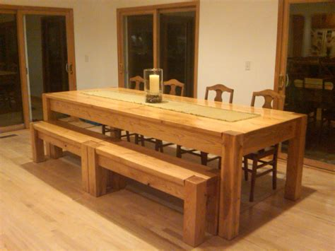 Homemade Oversized Kitchen Table With Long Bench And Four