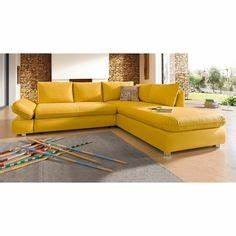 canape d39angle convertible en tissu jaune moutarde domizio With tapis berbere avec canape orange convertible