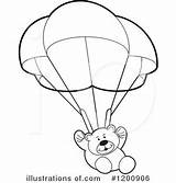 Parachute Coloring Clipart Bear Teddy Printable Clip Colouring Perera Lal Template Popular Library sketch template
