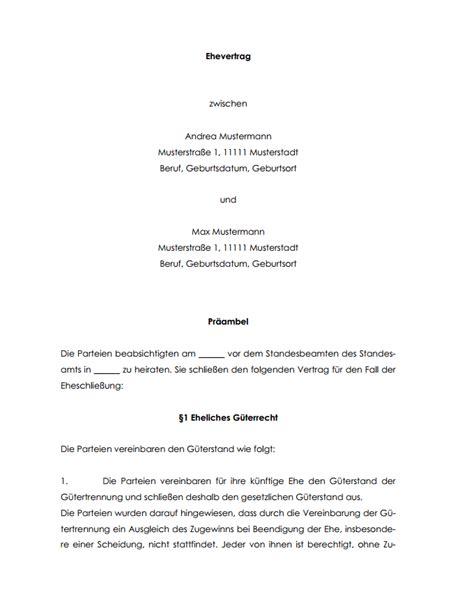 Ehe Scheidung Und Ehevertrag Bei Wohneigentuemern by Vorlage Zum Aufhebung Der G 252 Tertrennung Zwischen