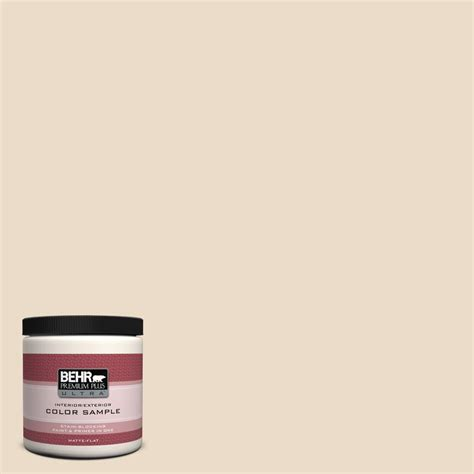 behr premium plus ultra 8 oz n260 1 vanilla mocha matte interior exterior paint and primer in