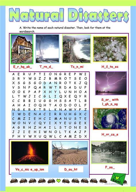 natural disasters worksheet  esl printable