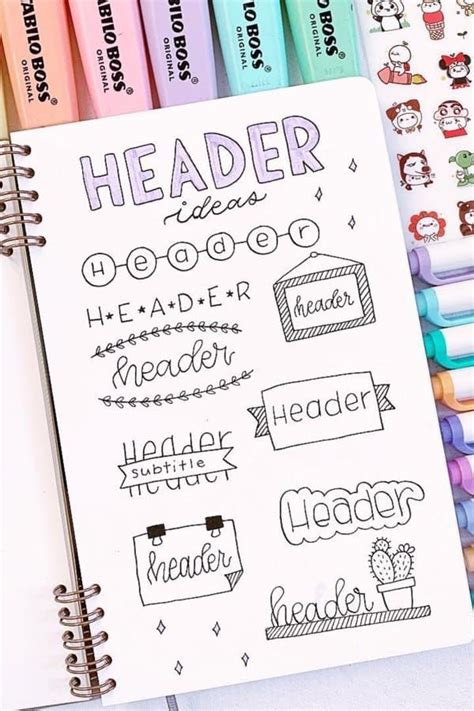 bullet journal header title ideas