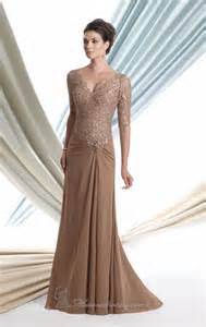 evening wedding attire coffee brown 3 4 lace sleeves of the dress formal gown plus size 2 4 16