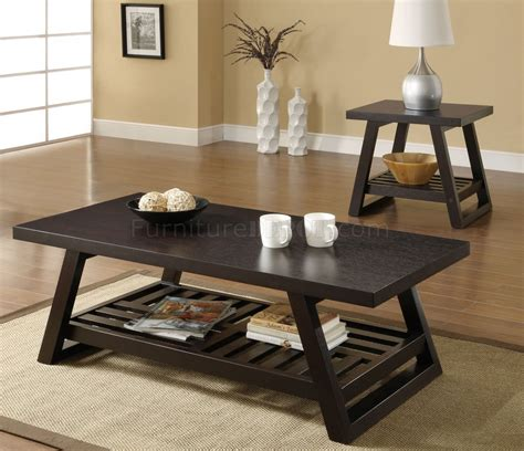 701868 3pc coffee table in rich brown by coaster