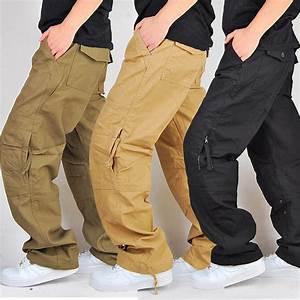 100% Cotton Durable Khaki Black Military Trousers Loose ...