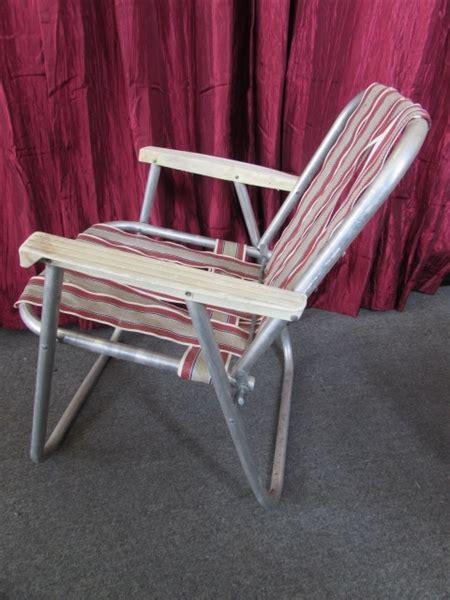 lot detail vintage aluminum folding lawn chair rocking