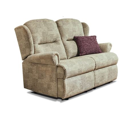 Small 2 Seater Settees by Malvern Small Fabiric Fixed 2 Seater Settee Care100