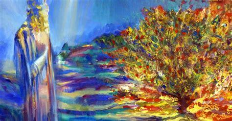 moses stands   burning bush shemot art parshah