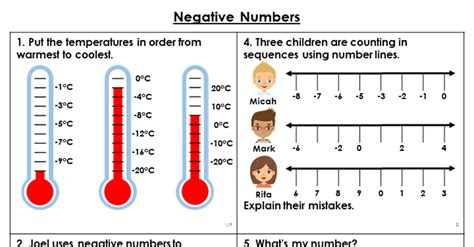year  negative numbers lesson classroom secrets