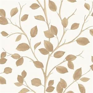 Fine Decor Woodland Leaf Wallpaper Cream / Gold (FD40671