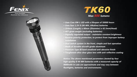 fenix tk60 1000 lumens 3 or 4 d cell