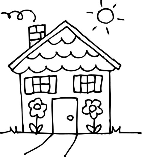 sunny day house coloring page  clip art