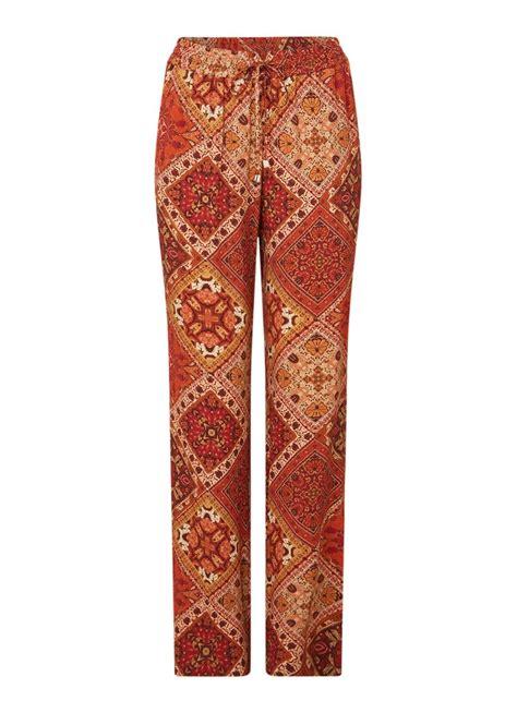 claudia straeter high waist wide fit broek met   print cranberryrood de bijenkorf