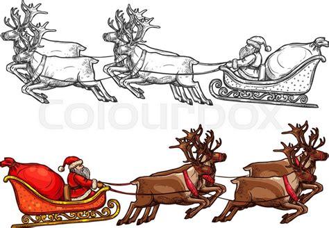 Christmas Santa Riding On Sleigh With Reindeer And Big