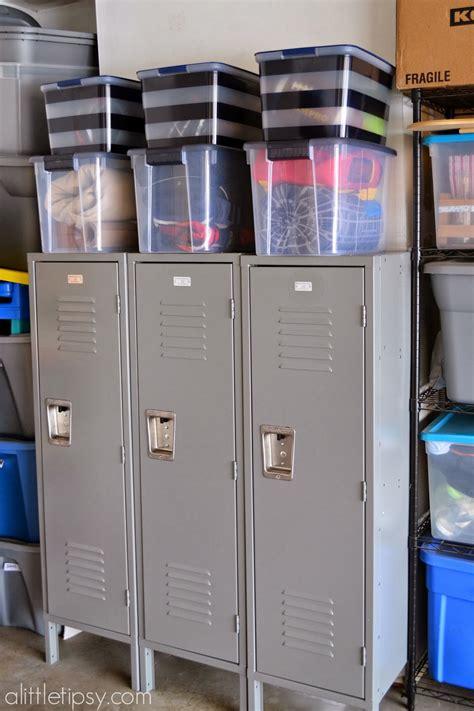 garage mud room with metal lockers a tipsy