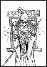 Coloring Pages Adult Wizard Fantasy Badass Colouring Creative Dover Haven Publications Adults Books Elf Designs Printable Pagan Stamping Wizards Mythical sketch template
