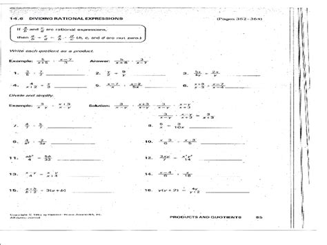 rational expressions worksheets with answers and solutions