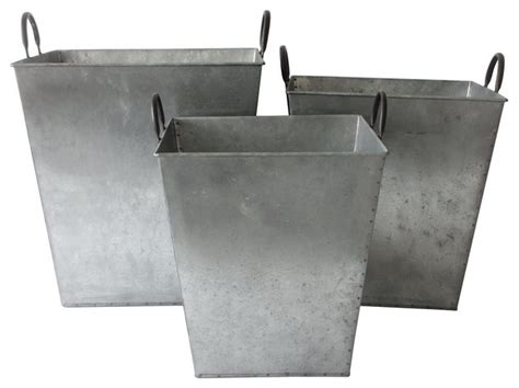 3-pc Large Tapered Metal Planter With Side Handles
