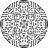 Coloring Geometric Printable Patterns Pattern Colouring Sheets Adults Adult Circle Circles Mandala Line Hard Detailed sketch template