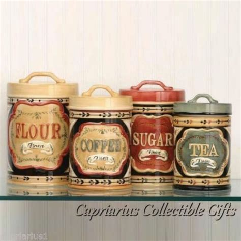 country store canister set of 4 flour sugar coffee