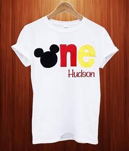 Light Blue Cotton T Shirt Mickey Mouse 1st Birthday T Shirt