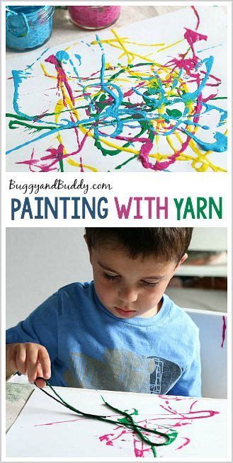 process for preschoolers painting with yarn buggy 398 | pin header4