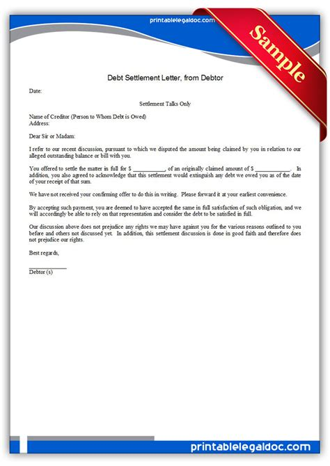 printable debt settlement letter debtor form generic