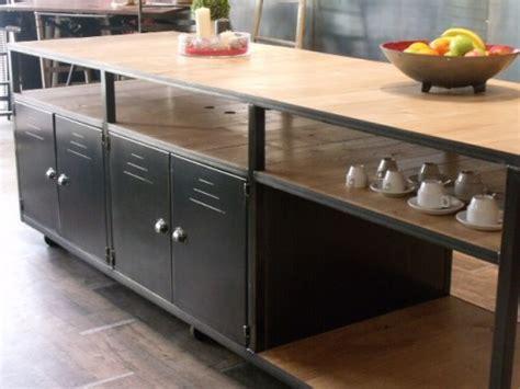 meuble de cuisine industriel ilot de cuisine bois métal sur mesure meuble de style