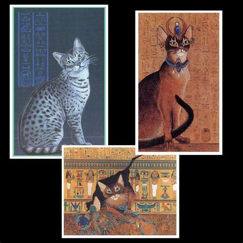Set Of 3 Egyptian Cat Art Magnets Abyssinian Cat