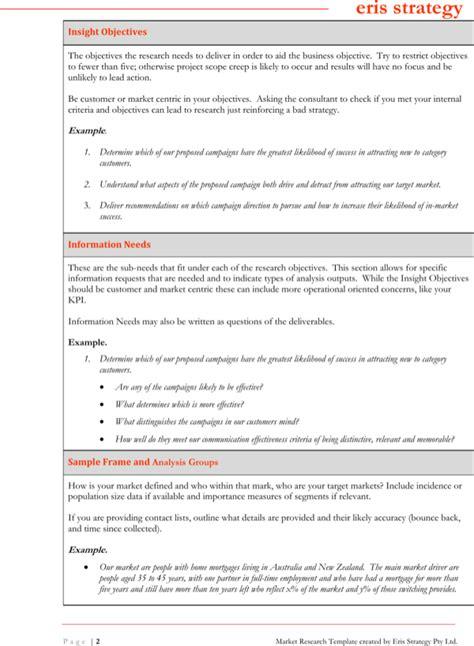 marketing research brief template exle market research brief template for free page 2 formtemplate