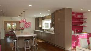 pink and brown kitchen contemporary kitchen kitchens With what kind of paint to use on kitchen cabinets for pink and brown wall art