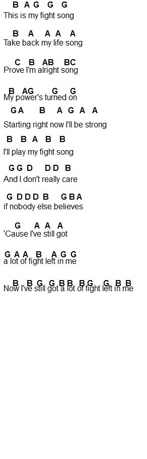 Print these easy songs in pdf format or read them off the screen. Flute Sheet Music: Fight Song