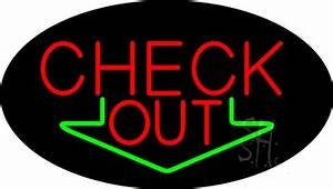 Check Out Animated Neon Sign with Down Arrow