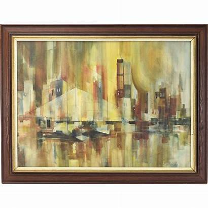 Cityscape Abstract Century Mid Painting Paintings Manhattan