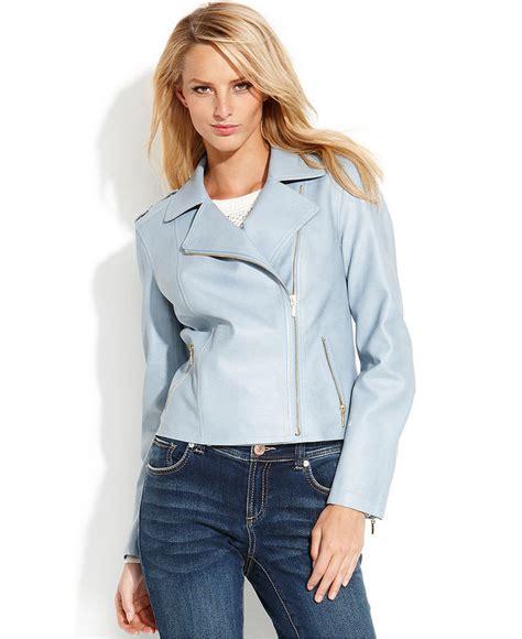 light blue leather jacket womens light blue leather jacket inc international concepts faux