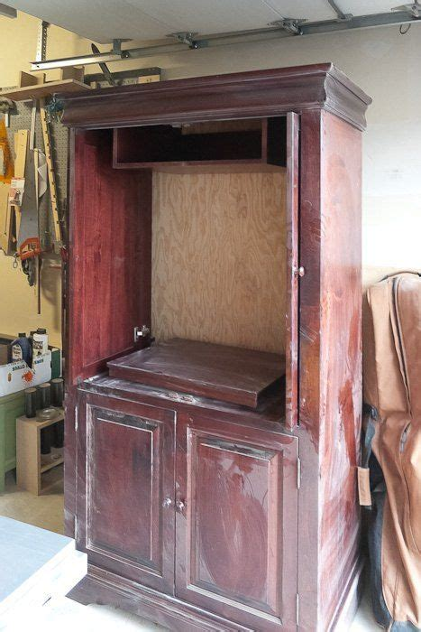 upcycled media cabinet  armoire diy furniture redo