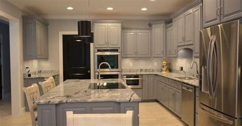 Kitchen, Grey Cabinets Viscon White Granite And Black