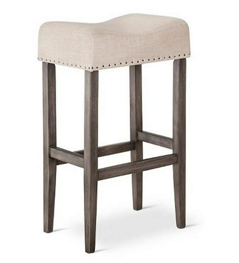 wooden linen saddle pub chair  bar counter stool