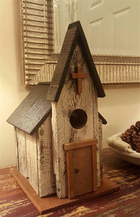 rustic church birdhouse   pallet wood  scraps laying  garage  love  bird