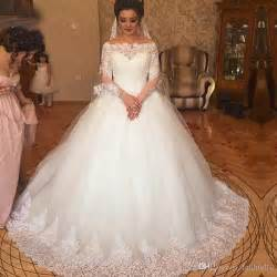 brautkleider discount vintage gowns arabic dresses 2017 beautiful design boat neck lace applique wedding