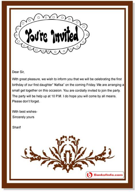 birthday invitation letter sample